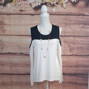 Venus black and white long sleeve cold shoulder to